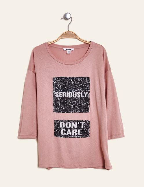tee-shirt sequins à message rose clair