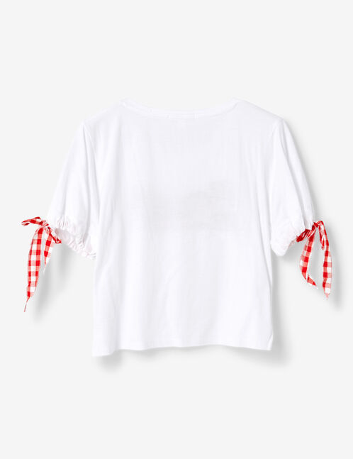 White T-shirt with gingham tie detail