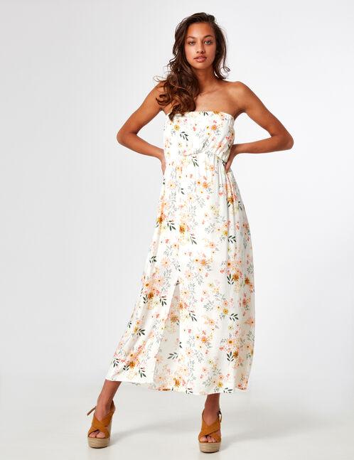 Cream floral strapless dress