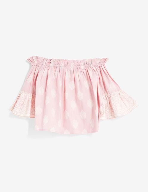blouse épaules dénudées rose et blanc