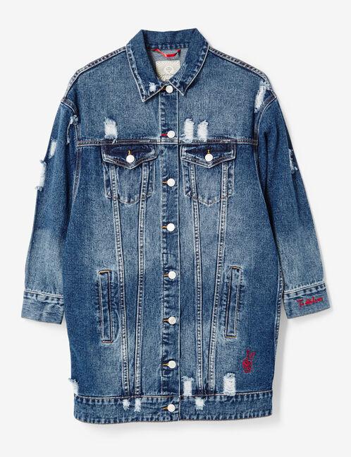 veste en jean longue destroy brut