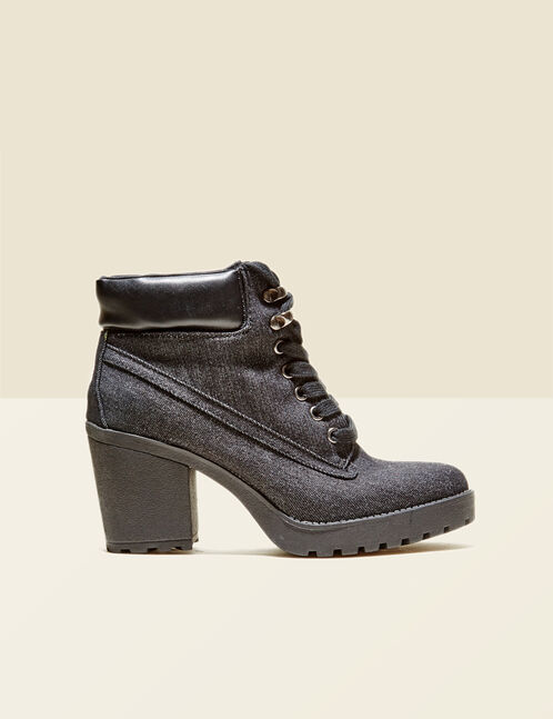 Raw denim hi-top ankle boots