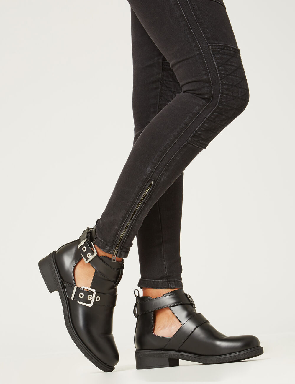 bottines double brides noires