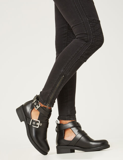 Black double-strapped ankle boots