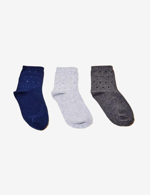 Grey and blue socks with rhinestone detail