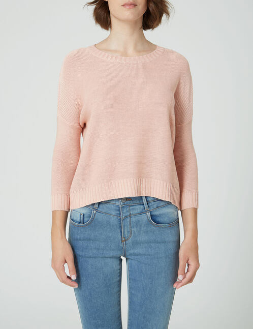 pull manches 3/4 rose clair