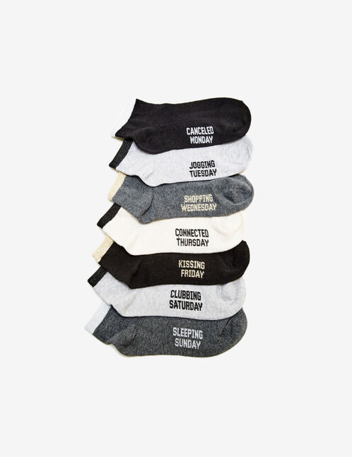 Black, grey and white socks with days of the week print