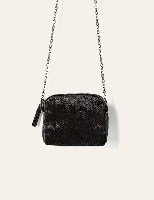 petit sac en suédine python noir
