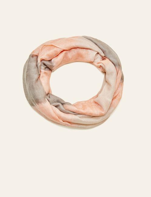 tour de cou effet tie dye rose clair