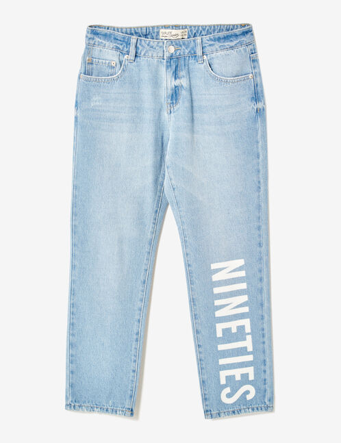 jean straight à message bleu clair