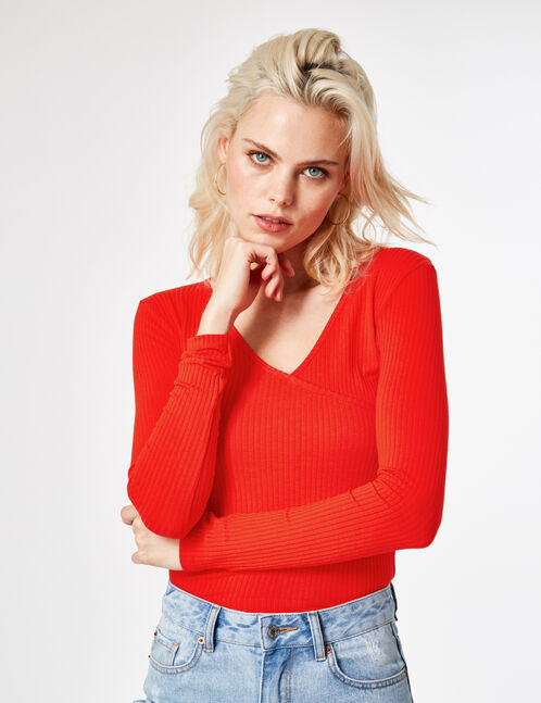 Red wrap-effect top