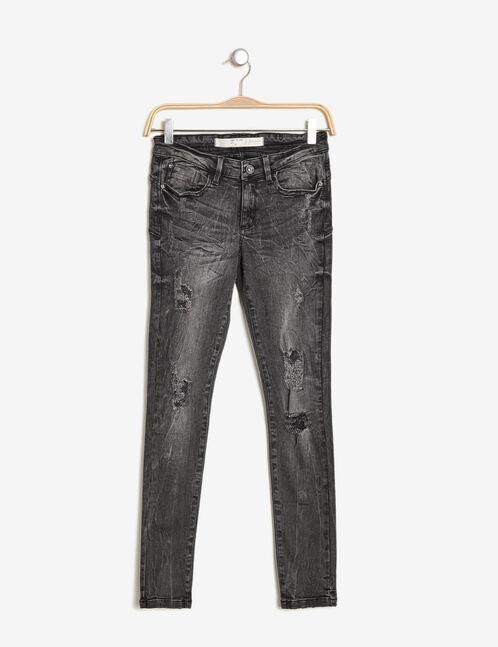 Black distressed push-up jeans