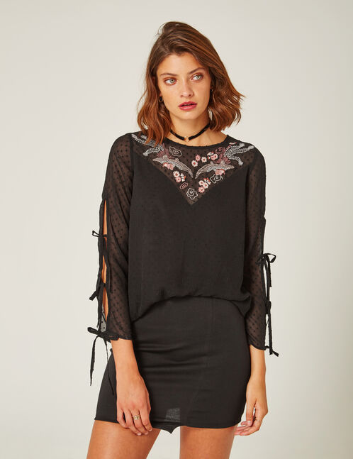 Black dobby spot blouse with embroidered detail