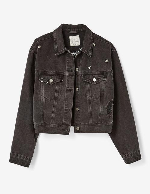 veste en jean brodée noire