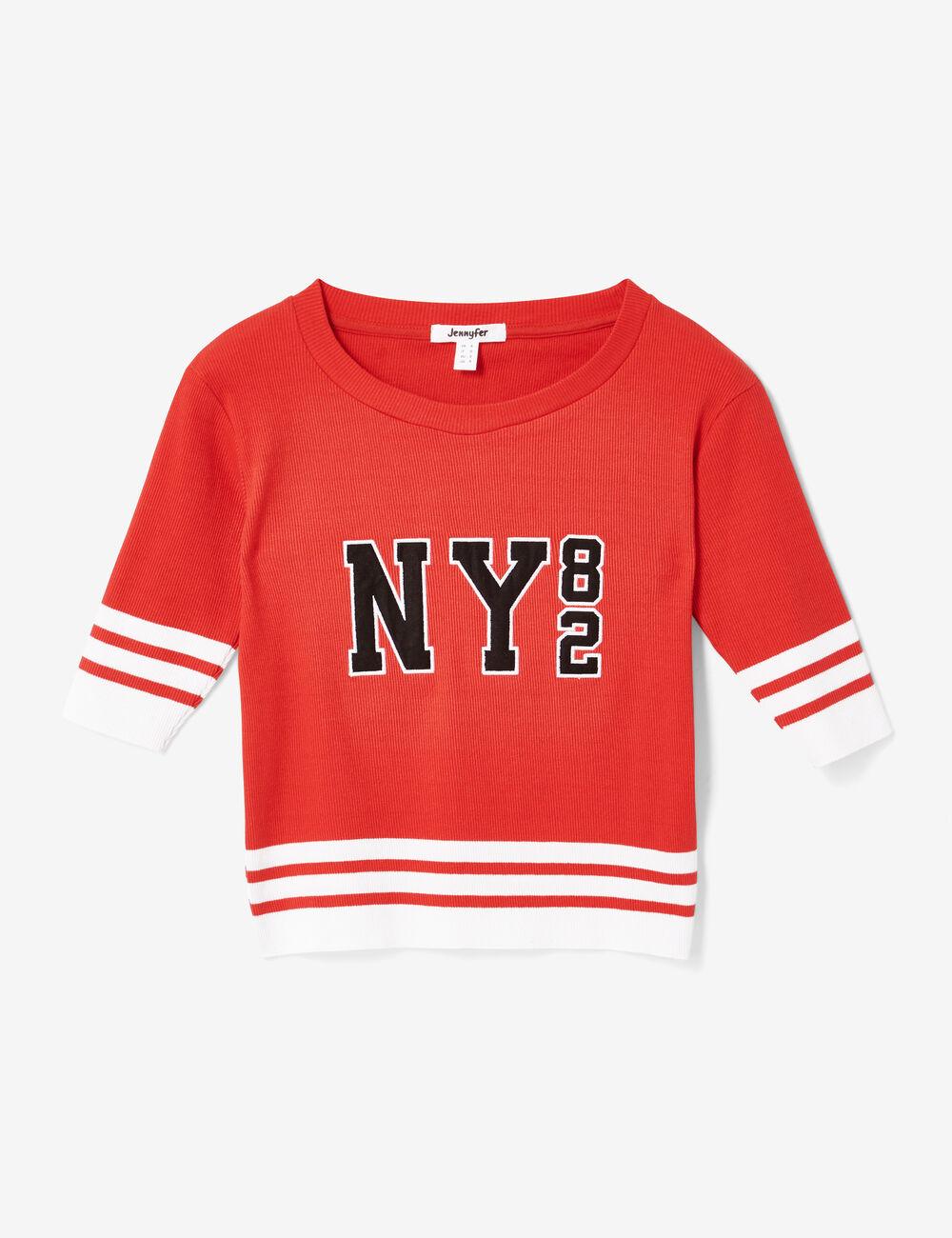 tee shirt ny82 rouge femme jennyfer. Black Bedroom Furniture Sets. Home Design Ideas