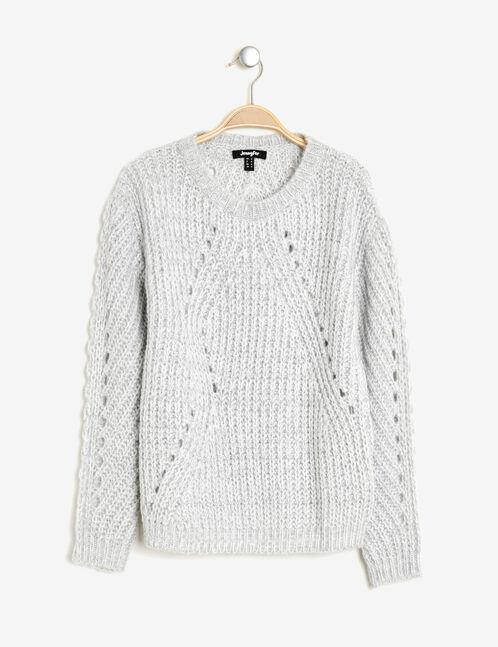 Grey and cream textured jumper with openwork detail