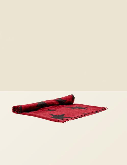 Burgundy and black star print scarf