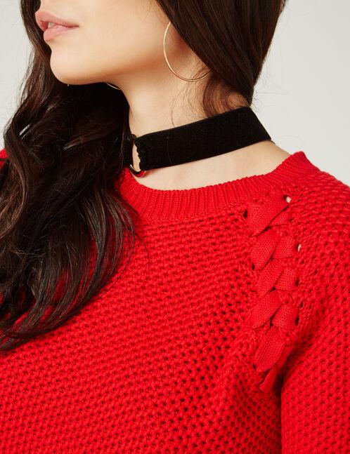 pull texturée avec laçages rouge