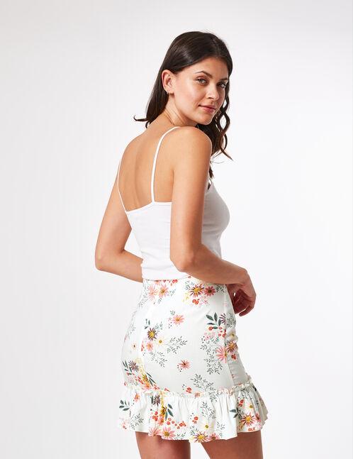 jupe fleurie avec volant écrue
