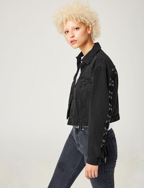 veste en jean avec laçage noir