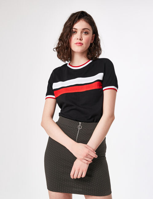 Black top with stripe detail