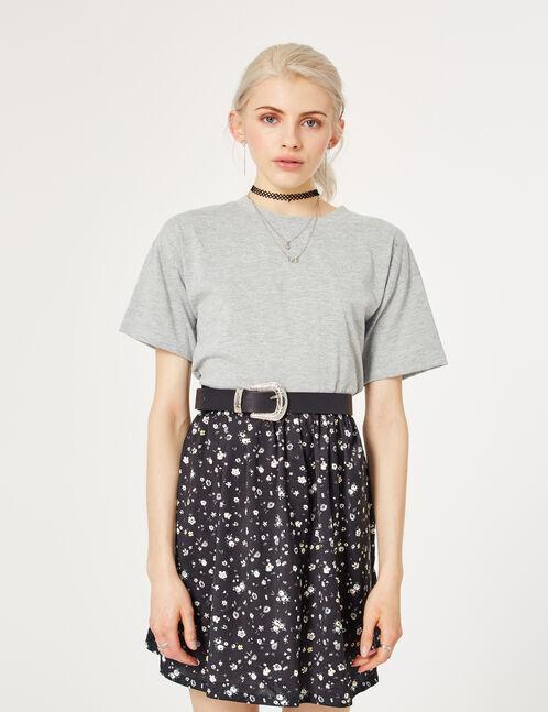 Grey marl mixed fabric dress