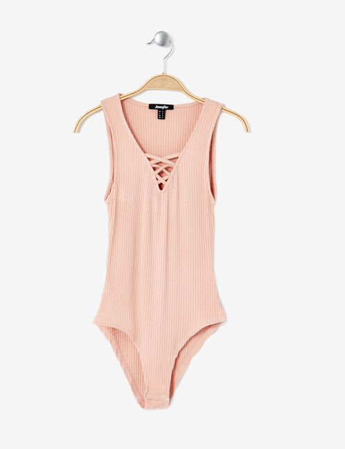 Light pink ribbed bodysuit with lacing detail