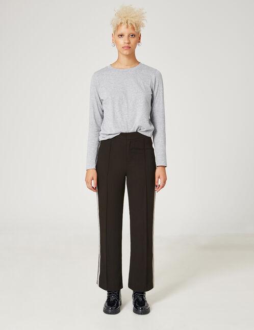 pantalon fluide avec bandes noir
