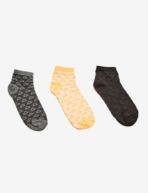 chaussettes fitness noires, grises et orange fluo