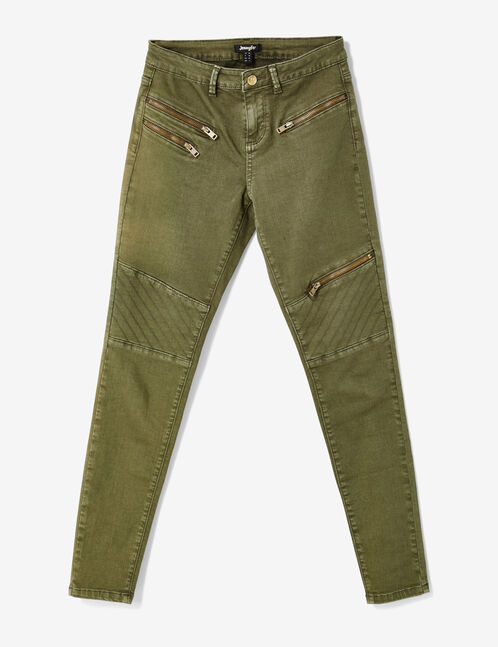 Khaki skinny trousers with zip detail