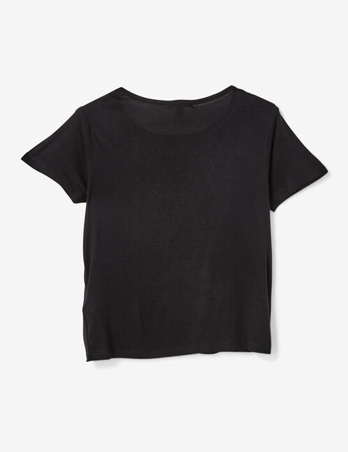"""Black """"icon"""" T-shirt with lace detail"""