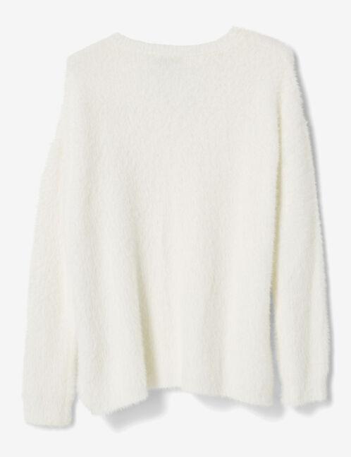 Long cream mohair-effect jumper