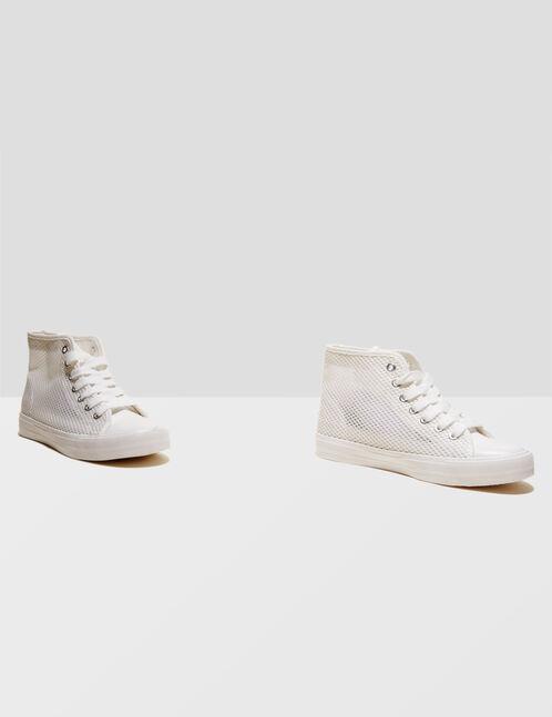 White mesh hi-top trainers
