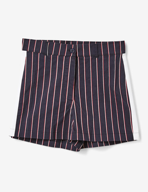 Navy blue, burgundy and cream striped tailored shorts