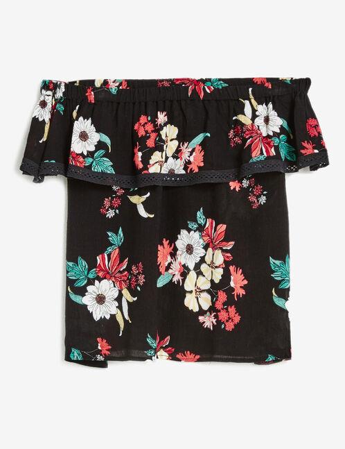 blouse épaules dénudées fleurie noire