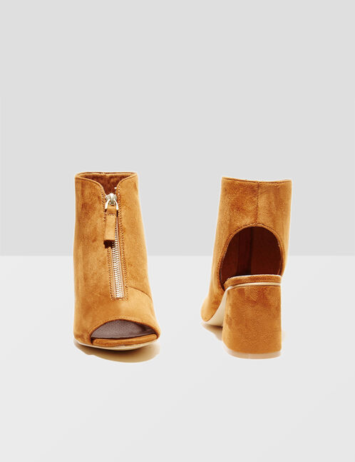 bottines avec zip camel