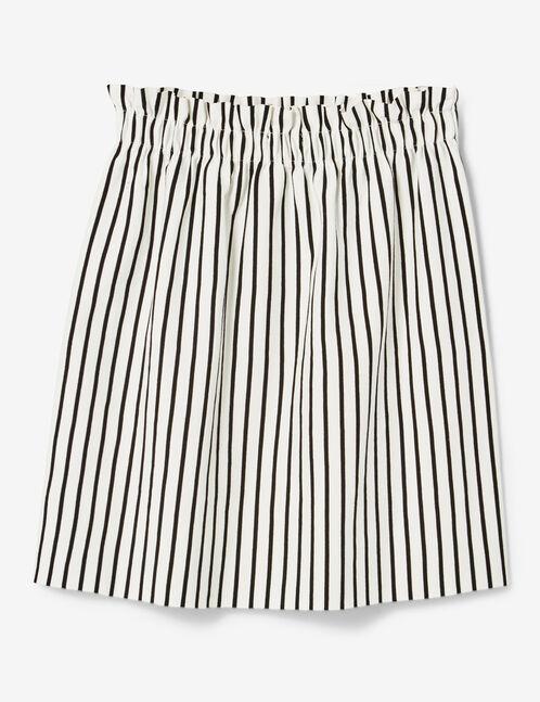 jupe avec fronces rayée noire et écrue
