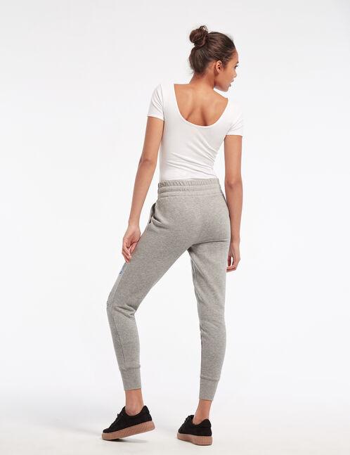 Grey marl mixed print joggers