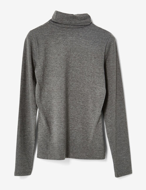 tee-shirt  basic col roulé gris anthracite chiné