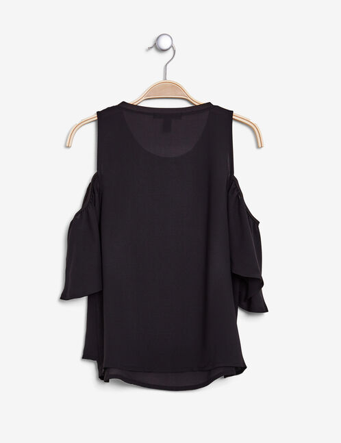 Black blouse with cut-out shoulders