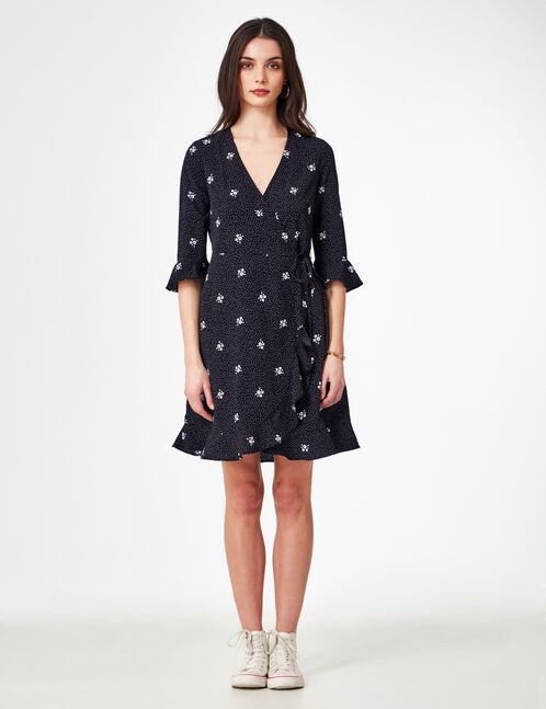 Black and cream floral and polka dot dress