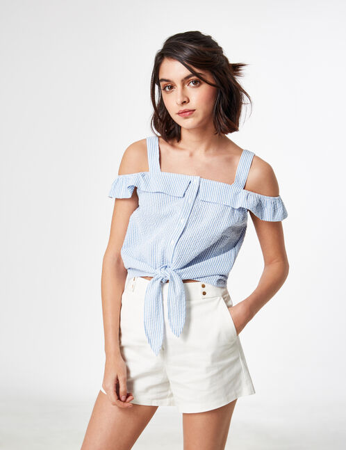 Light blue and cream striped tie-fastening blouse