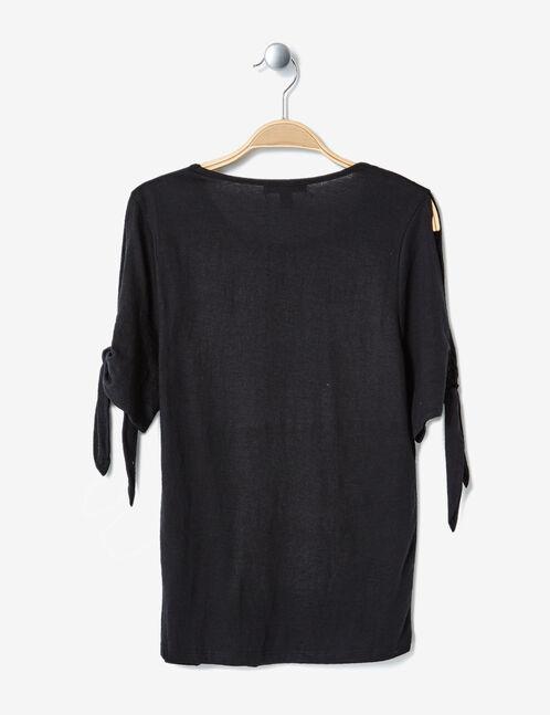 tee-shirt manches à nouer noir