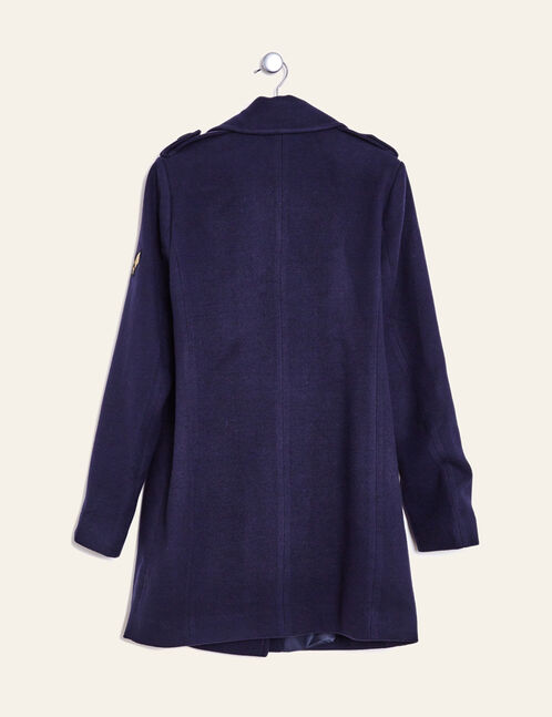 Navy blue pea coat with patch detail