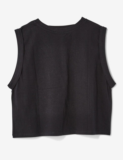 Black tank top with text design detail
