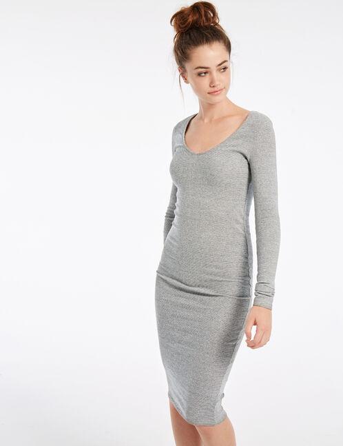 robe tube longue noir et gris