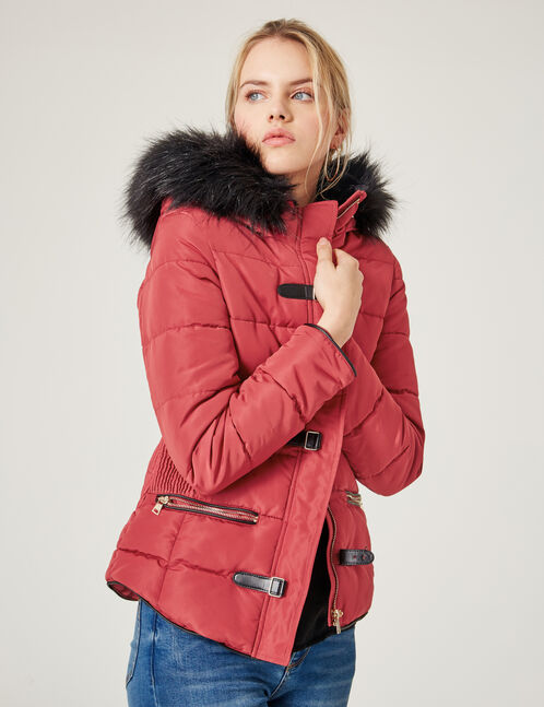 Burgundy padded jacket with strap detail