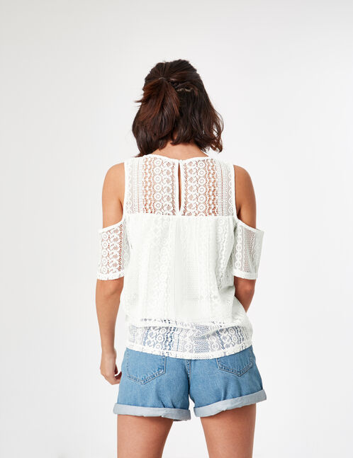 Cream lace T-shirt
