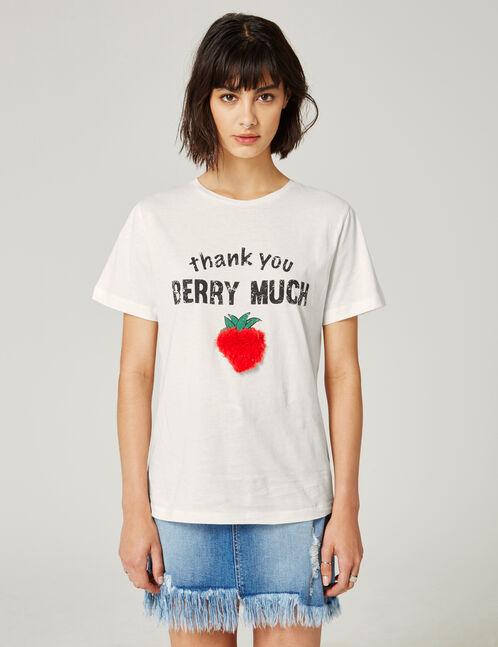 tee-shirt à message écru