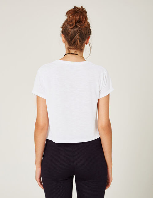 White crop top with pocket detail